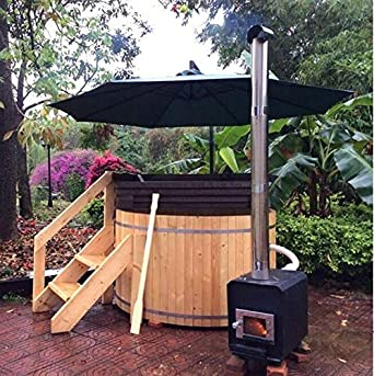 Self Assembly Canadian Redwood Cedar 5' Outdoor Wood-Fired Hot Tub - Also available in 6' size